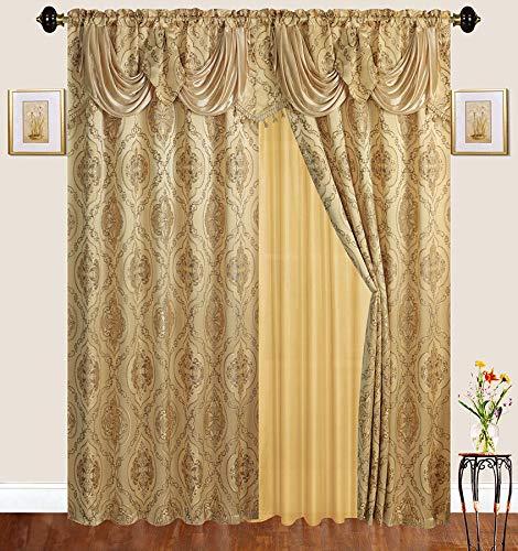 e Gardinen-Set mit Gardinenstange mit durchsichtiger Rückseite und angebrachtem Volant für Wohnzimmer/Schlafzimmer Gold ()