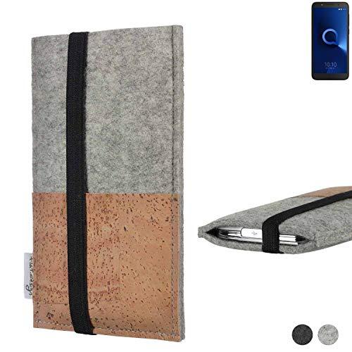 flat.design Handy Hülle Sintra für Alcatel 1C Single SIM Handytasche Filz Tasche Schutz Kartenfach Case Kork
