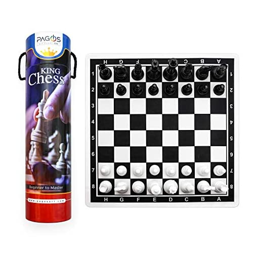 Pagos-Chess-Set-Schachspiel-Tragbares-Reiseschach-mit-Brettspiel-Set-Schach-fr-Kinder-Anfnger-und-Erwachsene Pagos Chess Set / Schachspiel Set – Tragbares Reiseschach mit Brettspiel Set -Schachbrett für Reise (Chess Board for Travel) Schach für Kinder, Anfänger und Erwachsene -
