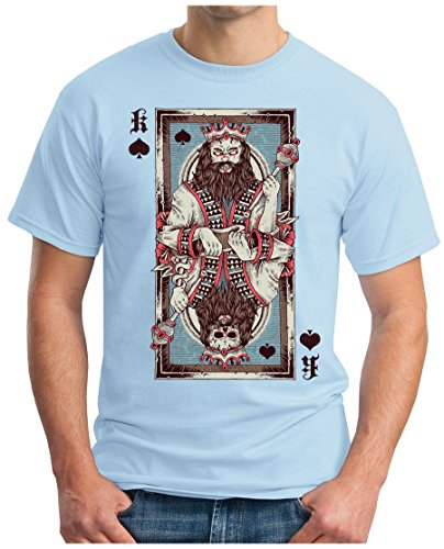 ... SKAT UNO PLAYER GEEK Himmelblau. OM3 - PIK-KING - T-Shirt SKULL POKER  PIK KÖNIG CARD ROYAL FLUSH