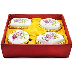 QraftINK Bone China Ceramic Small Cute Jewellery Boxes for Gift (Set of 4)