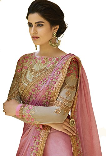 Fashionfort Women\'s Georgette Saree With Banglori Blouse Piece (Fftz_Pink & Gold)