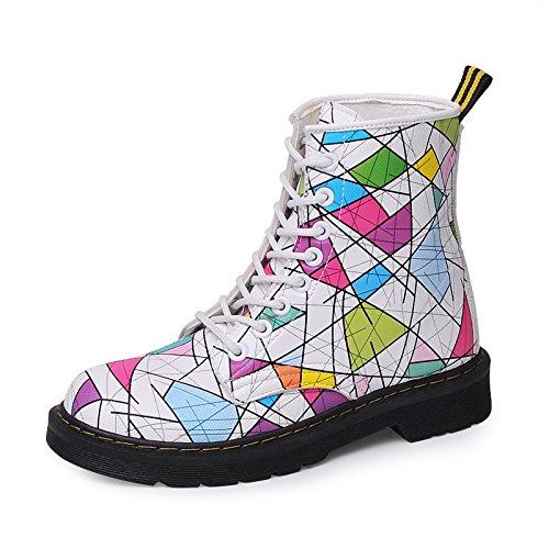 Casual chaussures pour femmes à l'automne et l'hiver sort couleur femelle bottes Martin bottes bottes couleur étudiant rue sauvage chaleur occasionnels