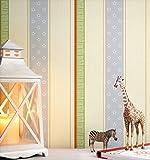NEWROOM Kindertapete Rosa Vliestapete Beige Grün Kinder Blumen,Streifen schöne moderne und edle Optik für Babys, Jungs oder Mädchen , inklusive Tapezier Ratgeber Kindertapete Rosa Streifen Rosen Kinder