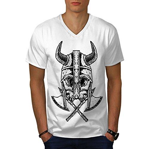 wellcoda Krieger Tot AXT Schädel Männer L V-Ausschnitt T-Shirt