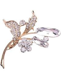 EOZY Broche Fleurs Pin Strass En Alliage Vintage Bijou Cristal Soirée Femmes
