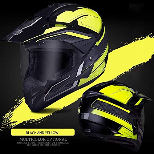 Moto-Helm, ECE-Standard-HD-Objektivhelm Abnehmbares Futter Belüftungssystem Motocross-Helme 3-zertifizierte Objektivverstärkung (Color : Yellow, Size : L)
