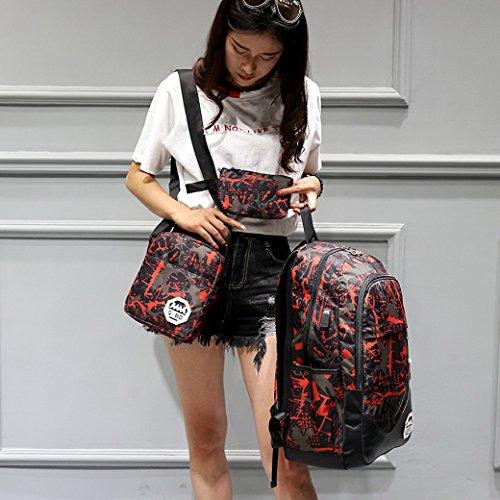 ACMEDE Schulrucksack 3 Teiliges Schultasche-Set Top-Model Studentrucksack mit USB Anschluss INKL Schultertasche + Geldbeute + Mäppchen Rot