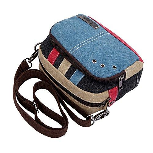 Oulii Fashion Kleine Umhängetasche aus Canvas, Blau (Canvas Fashion Handtasche)
