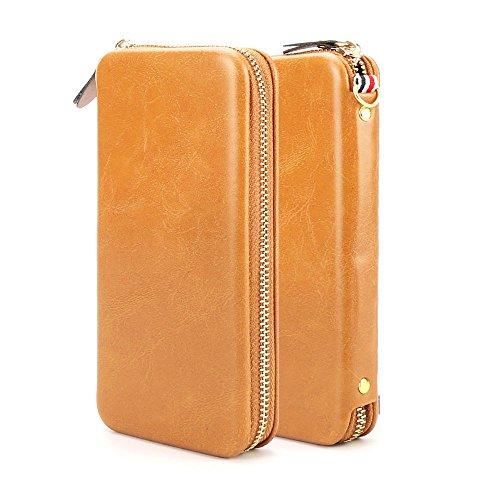 Gucci Leder Tan (Für iPhone 6S 7 Plus Samsung dünner Mappen Reißverschluss Magnet Kasten Karten Bargeld Slot Serie mit High Premium weicher PU Leder unter 5,5 Zoll von HUI YUAN Brown Tan (S))