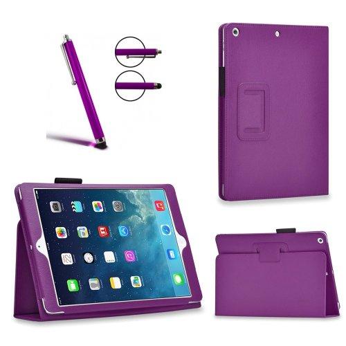 Invero® Executive Leder Schutzhülle Tasche Etui umfasst Ständer Feature, mit Auto Schlaf / Wach Funktion, Displayschutzfolie, Eingabestift Kugelschreiber und Mikro-Reinigungstuch für Apple iPad Pro 12,9 Zoll 2015 - Lila / Purple Iphone Executive Leather Case