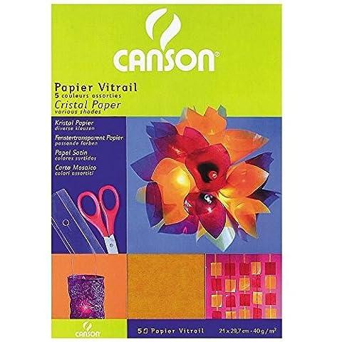 Papier Cristal - CANSON papier 200992700cristal 21x 29,7cm A4Rouge/jaune/bleu/violet/vert foncé,