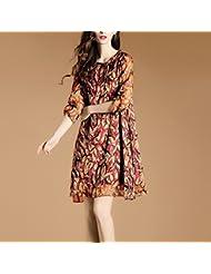Women'S Robe Été, L'Europe Et Les États - Unis Taille Women'S 7 - Point Manches Meuble Meuble Printing Mousseline