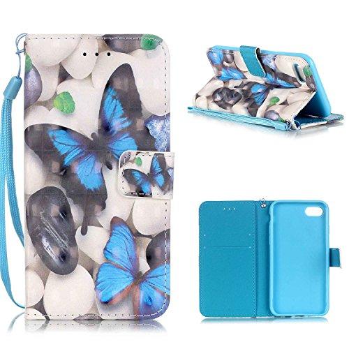 """MOONCASE iPhone 7 Coque, Creative 3D motif Case Portefeuille Housse en Cuir Etui à rabat avec Béquille pour iPhone 7 4.7"""" -Balloon Bear Bleu Papillon"""