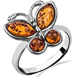 Baltic Honey Amber Sterling Silver Butterfly Ring