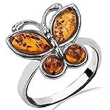 Bernstein Sterling Silber Schmetterling Ring Größe 67 (21.4)