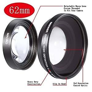 Neewer Objectif grand angle/macro pour appareil photo et caméscope 0,45 x 62mm Noir