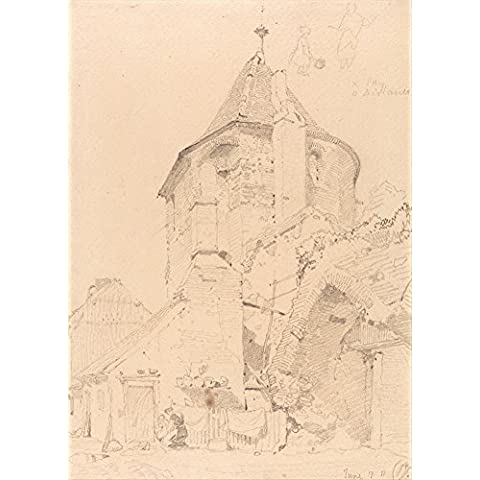 JOHN SELL COTMAN Yarmouth, el noroeste torre c1811. Inglés 18th-siglo 19. Cartel de la reproducción en 200gsm A3 satén de lustre bajo tarjeta del