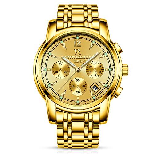 RORIOS Business Uhren Analog Quarzuhr Kalender Edelstahl Metallarmband Leuchtend Armbanduhr (Wasserdicht-uhr-glühen In Der Dunkelheit)