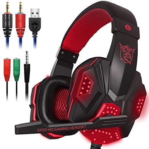 Gaming Headset mit Mic und LED Licht für Laptop Computer, Handy, PS4 und die neue Xbox One, DLAND 3.5mm Wired Noise Isolation Gaming Kopfhörer - Lautstärkeregler (Schwarz und Rot)