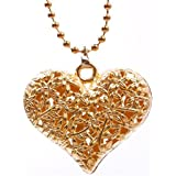 TR.OD Women's Hollow Out Peach Love Heart Charms Pendants Long Chain Necklace Collar Choker