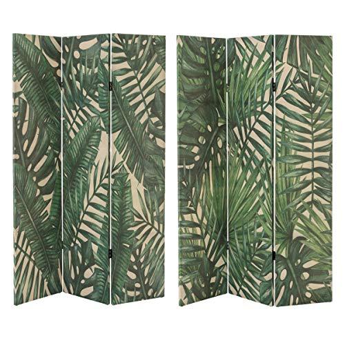 Biombo de diseño étnico Verde de Lino para salón Sol Naciente - LOLAhome