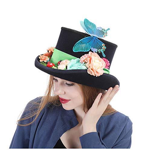 Sommerhut im Freien Lustige Partyhüte Filzhüte Steampunk Hut Wolle gefiederten grünen Zylinder mit Brille (Farbe : Schwarz, Größe : 55 cm) -