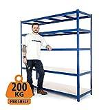 Scaffalatura in acciaio per carichi pesanti per garage, 200 kg per ripiano (5livelli 1.800mm altezza x 1.800 mm larghezza x 600 mm profondità)