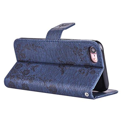 mo-beauty ® iPhone 7floreale Custodia a portafoglio in pelle PU [Free protezione per lo schermo in vetro temperato], con cinturino da polso, con Glitter strass floreale farfalla Custodia a portafogli Blue