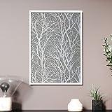 Newroom Design NEWROOM Wandbild 70x50cm Wandposter fertig zum Aufhängen gerahmt Zweige Äste Landhaus Modern Natur Grau Metallic Premium