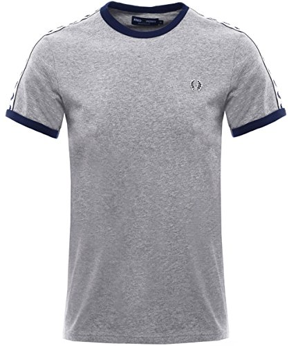 Fred Perry Taped Ringer, T-Shirt Homme, Gris (Steel Marl 420), L