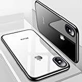 iPhone X Hülle, TORRAS Silikon Durchsichtig Ultra Dünne Schutzhülle Transparent Handyhülle [ Kratzfest ] Klar Soft Slim Gel Case TPU Plating Bumper Handy Hulle für Apple iPhone X / iPhone 10 - Schwarz