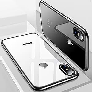 iPhone X Hülle, TORRAS Silikon Durchsichtig Ultra Dünne Schutzhülle Transparent Handyhülle [ Kratzfest ] Klar Soft Slim Gel Case TPU Plating Bumper Handy Hulle für Apple iPhone X / iPhone 10 - Schwarz