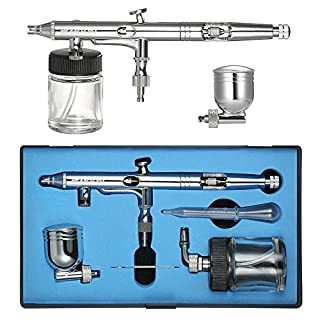 KKmoon Professional Multi-Purpose Side Feed Dual-Action Airbrush Kit Set Adjustable Air Control 0.25mm 7cc & 22cc Trigger Spray Gun for Nail Arts Body Paint Painting Air Brush With Eyedropper