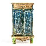Divero Vintage Wäscheschrank Kleiderschrank Geschirrschank Vitrine – Shabby Chic Möbel Unikate aus Recycling-Holz Bootsholz – Bunt 77 x 140 x 44 cm
