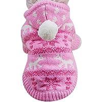mascotas ropa navidad Sannysis mascotas ropa perros pequeños chihuahua perros ropa de invierno accesorios Sudadera con capucha Ropa de disfraces cálida (XS, Rosa)