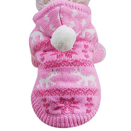 VENMO Stricken Hund Hoodie Pullover Haustier Katze Welpen Mantel kleine Haustier Hund warme Kostüm Bekleidung Hundejacke mit Kapuze, Rosa, Wintermantel/Winterjacke, Pink, XL