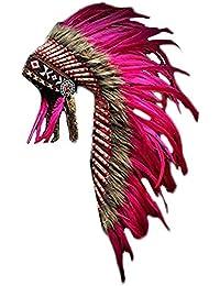 KARMABCN Y04- Estilo Indio Nativo Americano, Tinte Rosado Medio de la Pluma (36 Pulgadas de Largo).