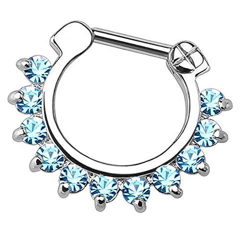 Piersando Piercing Scharnier Clicker Bar Ring mit Kristall Spikes Zapfen Vintage Septum für Tragus Helix Ohr Nase Lippe Brust Intim 1,6mm Silber Aqua Blau