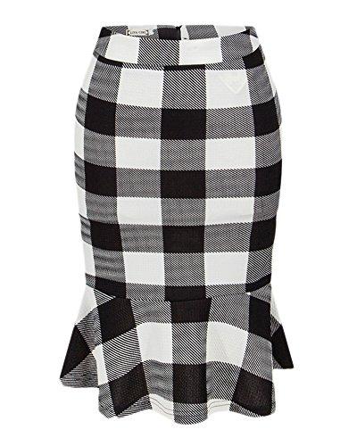 Femme rétro jupe imprimée midi Crayon Elegant Fishtail moulante Taille Haute Knitting Jupe longueur genou Grille en noir et blanc