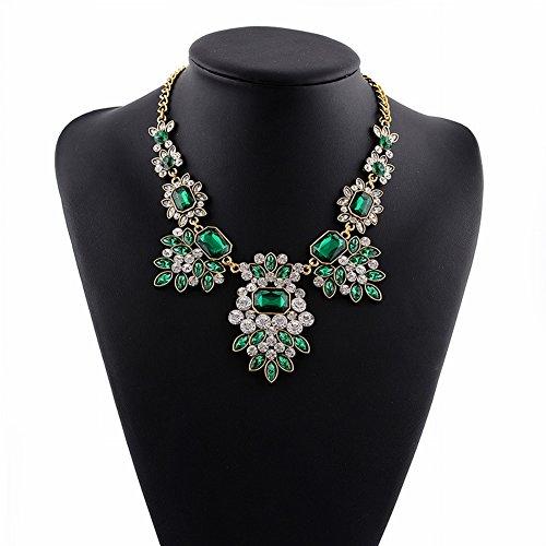 Griechisch für Frauen Götter Ägyptischen Falschen Kragen Übertrieben Kurzen Diamant Halskette für Frauen Mode Lange Bekleidungszubehör , Grün (Kragen ägyptische Halskette)