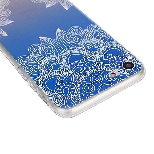 Etsue Coque Housse pour [iPhone 5/5S/SE] Case ,Joli Imprimé Peint énergie Papillon Motif Design Anti-Scratch Protector Coque de Téléphone pour iPhone 5/5S/SE Transparente Ultra Mince Supérieur Semi Tr Mandala Fleur Bleu