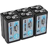 ANSMANN Akku 9V Block Typ 300mAh - Aufladbare Batterie 9V NiMH mit geringer Selbstentladung & hoher Kapazität - 9V Block Batterien für Messgerät Multimeter Spielzeug Fernbedienung uvm. - 6 Stück