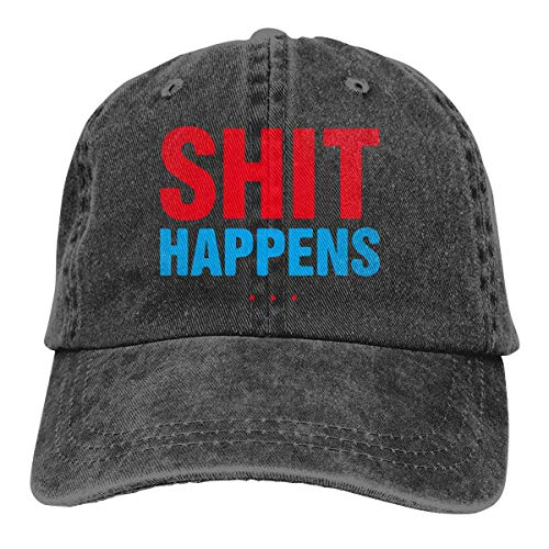 Back Baseball Kappe (Hoswee Unisex Kappe/Baseballkappe, Shit Happens Men/Women Washed Adjustable Baseball Cap Denim Back Closure Sun Hat)