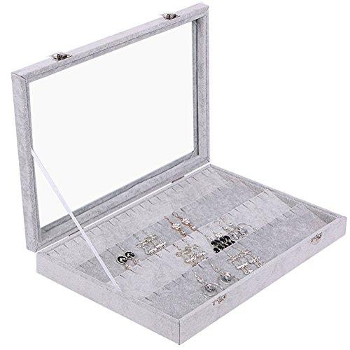 Meshela Samt Glas Schmuck Ring Display Organizer Box Tablett Halter Schmuck Ohrringe Aufbewahrung Fall (Für Frauen Schmuck-box Earing)