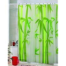 DU&HL Hogar baño bambú árboles verde naturaleza arte impresiones textil diseño Spa baño decoración colección especial tela impresión blanco verde ducha cortina puede lavar a máquina