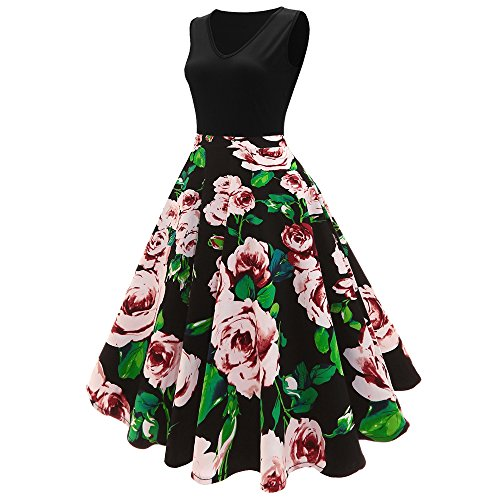 ZAFUL Plus Size 40s 50s 60s Vintage Floral Printed Midi Vintage Flare Schwingen Rockabilly Pinup Ballkleid Partei Kleid EU Size 38-54 Schwarz 1