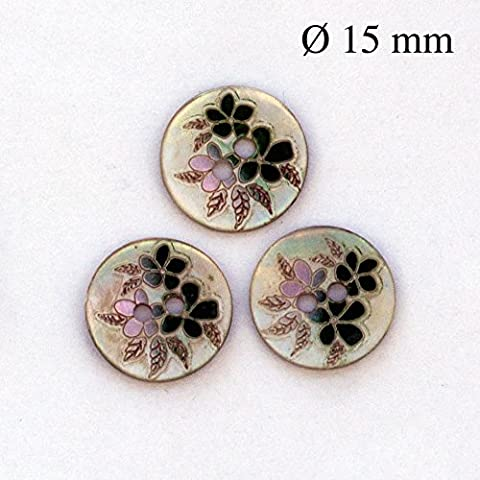 5 Genuine Mother of Pearl buttons, 2 holes, ∅: 19/32