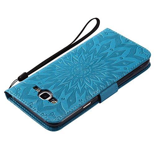 Für Samsung Galaxy J7 Fall, Prägen Sonnenblume Magnetische Muster Premium Soft PU Leder Brieftasche Stand Case Cover mit Lanyard & Halter & Card Slots ( Color : Blue ) Blue