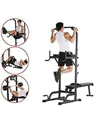 Maquina multiestación de musculación y dominadas. Torre barra para abdominales